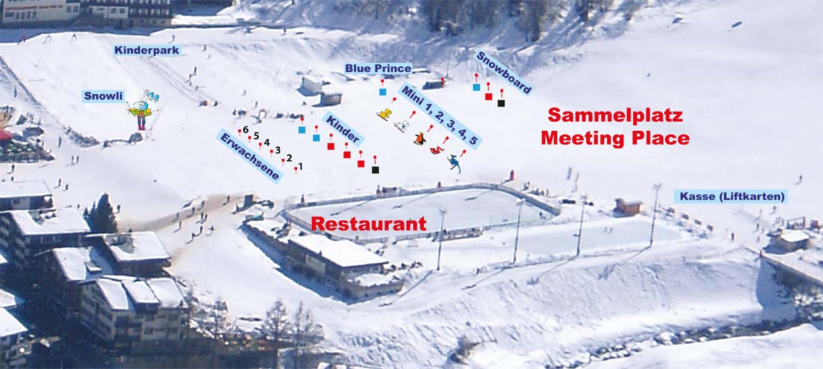 Collection point Meeting point Village map Swiss Ski School